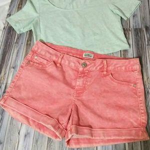 Celebrity Pink Jeans Soft Coral Vintage Wash Short